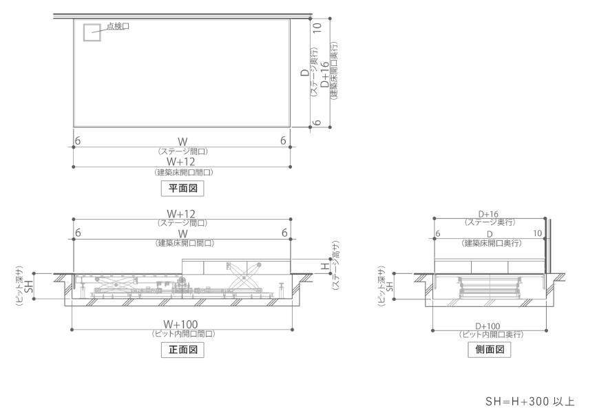 MTW-E電動式昇降ステージ製品図面