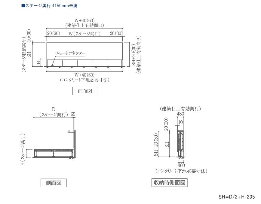 MTW-EW 電動式壁面収納折畳みステージ ステージ奥行 4100mm以下製品図面