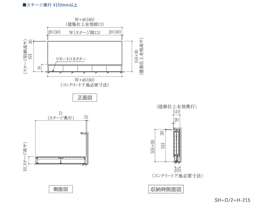 MTW-EW 電動式壁面収納折畳みステージ ステージ奥行 4101mm以上製品図面
